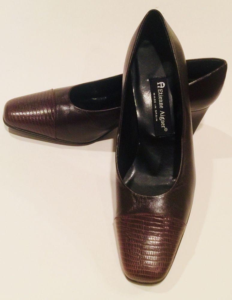 fc3f9a32d13 Etienne Aigner Strada Leather Oxblood Croc Detail Low Heel Pumps Size 8.5  Spain