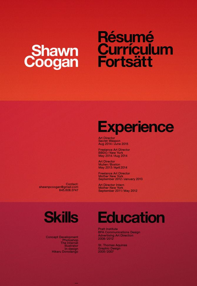 Shawn Coogan   Art Director   Resume - Shawn Cooganu0027s Portfolio - art director resume sample