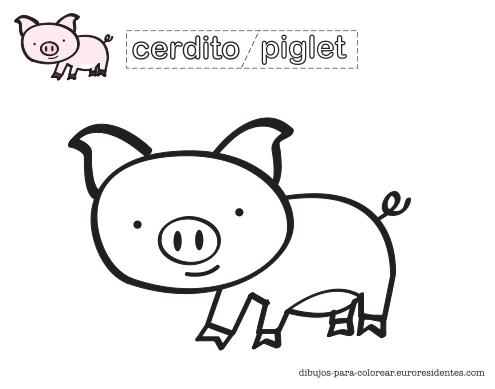 Dibujo De Cerdito Para Colorear Manualidades Cerdo Para Colorear Animalitos Para Colorear Cerdo Dibujo