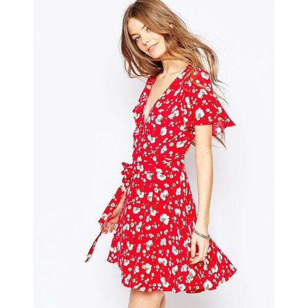 V neck red dress asos kleider
