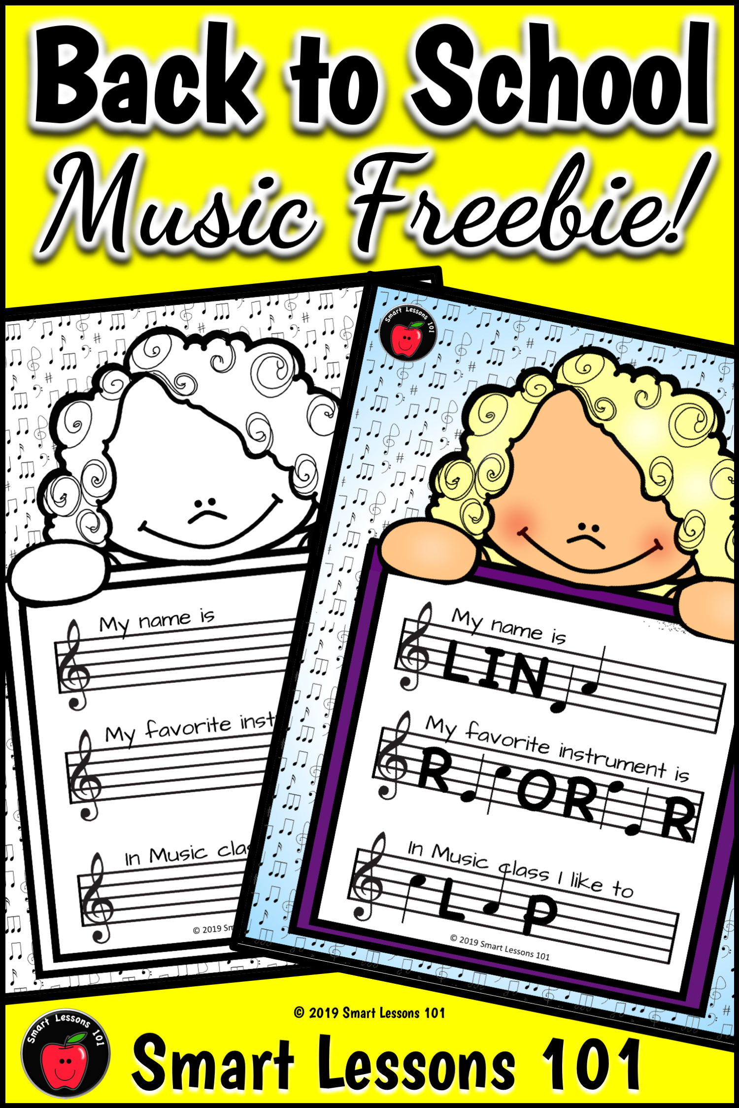 Free Music First Day Activity All About Me Worksheets