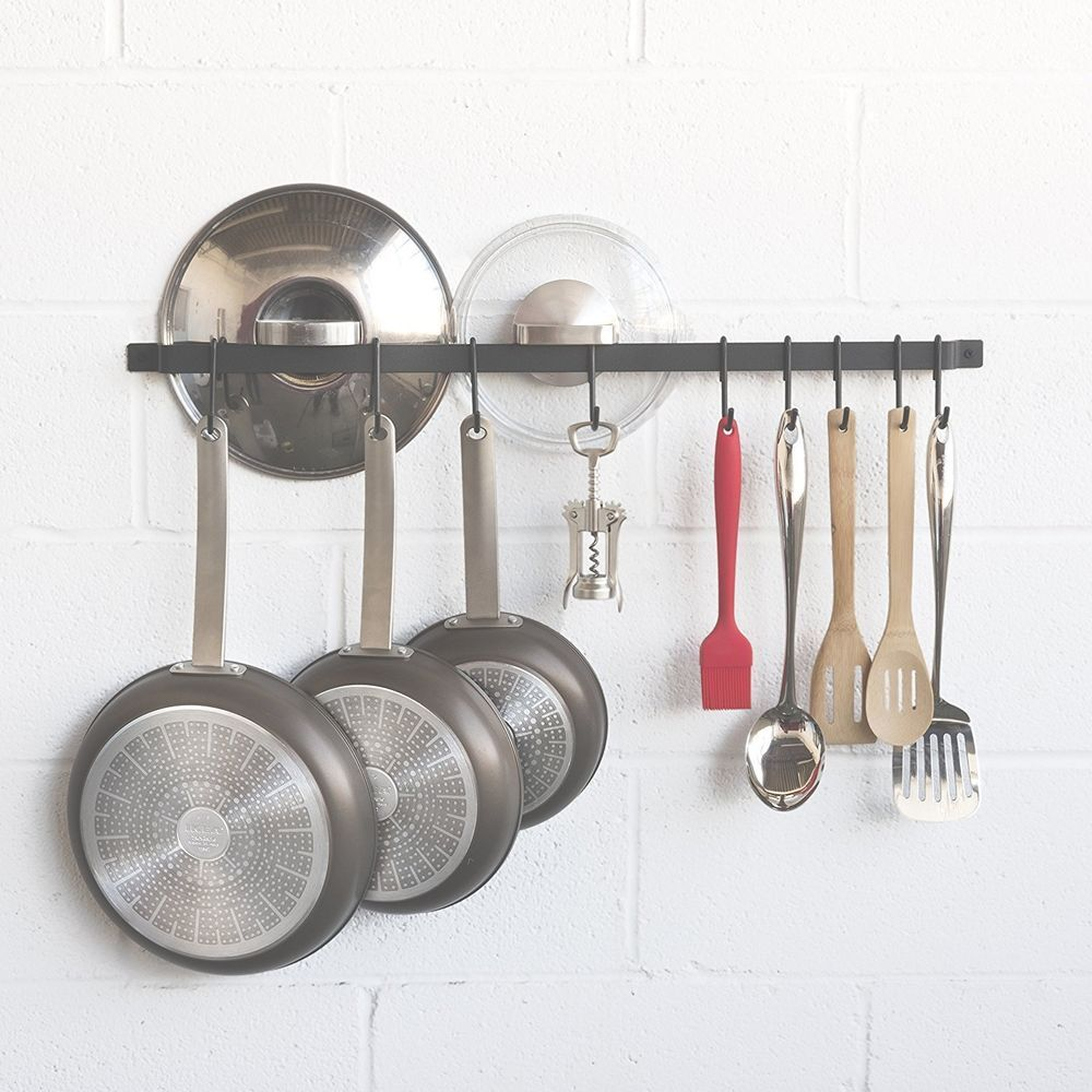 Wall Mounted Pot Rack Pan Storage Kitchen Hanging Bar Organizer Rail Holder Fasthomegoods Pot Rack Pot Rack Hanging Lid Storage