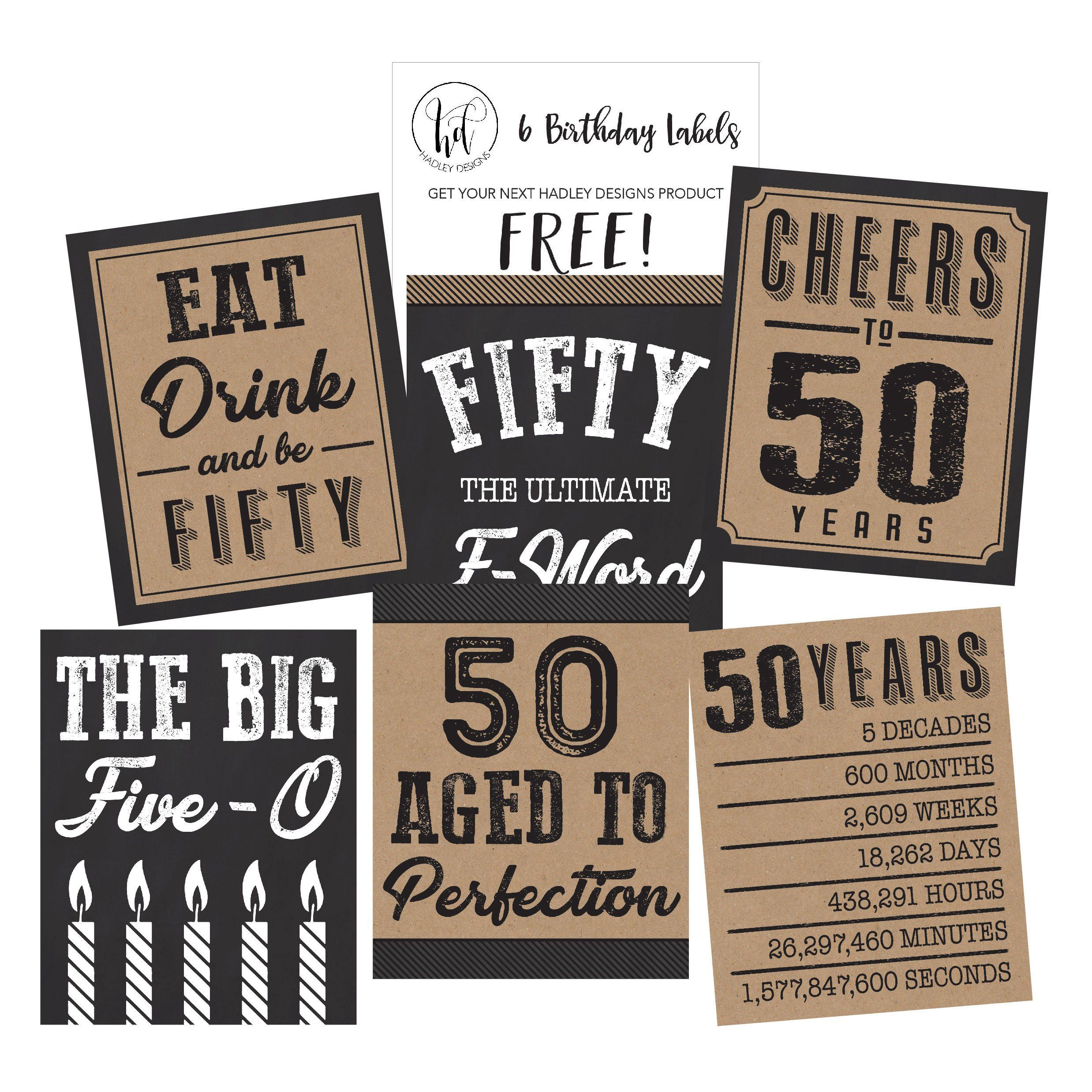 50 Fab Summer Finds Under 50: 6 50th Birthday Wine Or Beer Bottle Labels Stickers