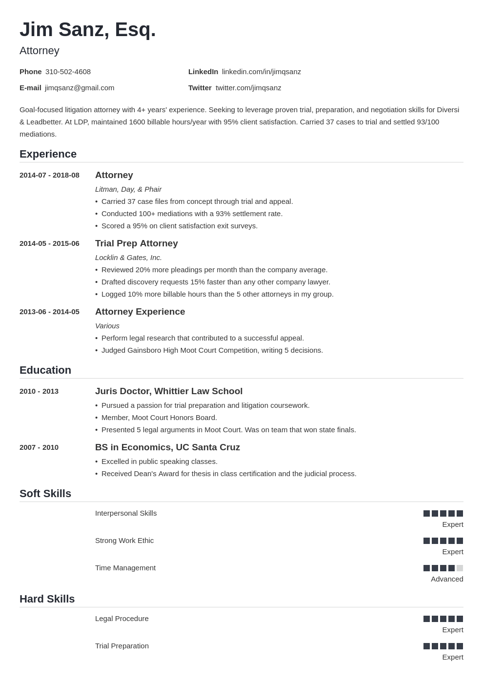 attorney resume example template nanica in 2020 Resume