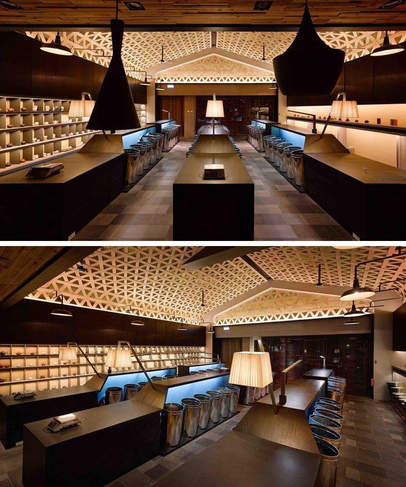 Decke Design Ideen A gewebt Holz fallen Decke schafft A dramatische ...