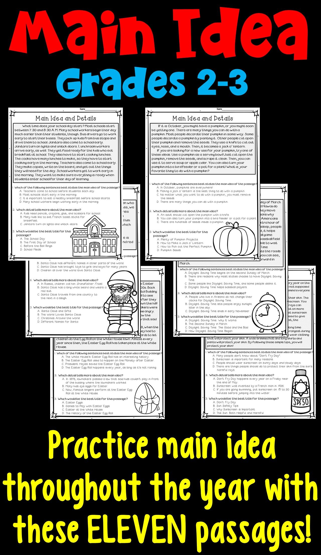 Main Idea And Supporting Details 11 Monthly Worksheets