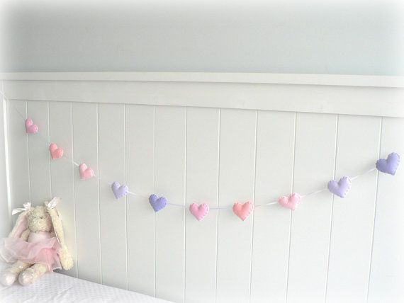 Pastel felt hearts banner/ garland/ bunting by LullabyMobiles