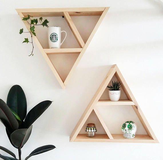 Triangle Shelf Handcrafted Wood Shelf Geometric Shelf