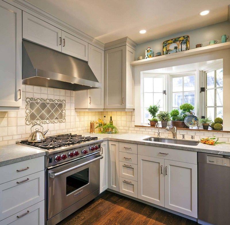 Garden Kitchen Windows Bay Window Above Kitchen Sink: Bay Window Sink White Window White Cabinet Stainless Steel