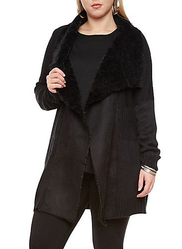 Plus Size Faux Fur Dropped Shawl Collar Longline Open-Front ...
