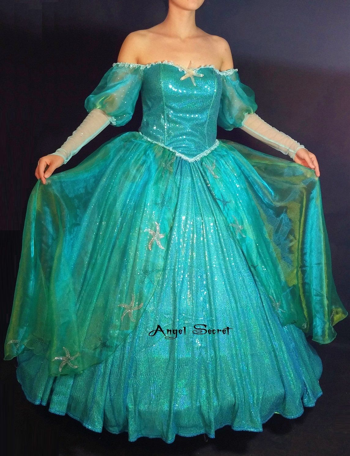 P with sea star rhinestone ariel gown dress little mermaid from