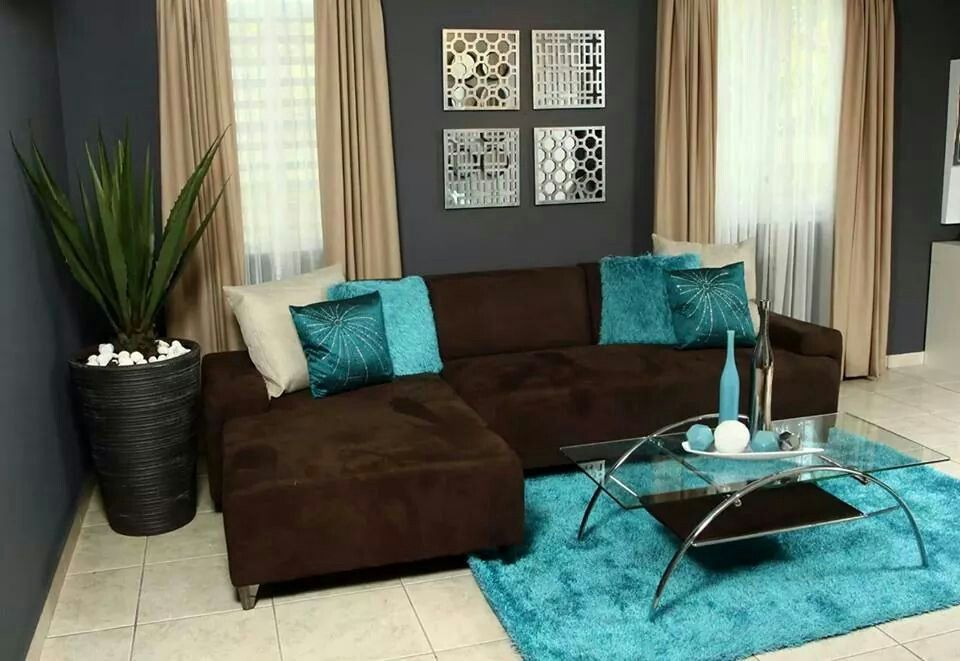 Deco Azul Gris Marr Living Room Turquoise Brown Couch Living Room Teal Living Rooms #turquoise #brown #living #room