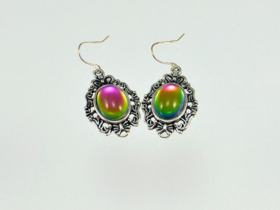 Oval  Iridis  Cabochon  Silver  Earrings by bebsbeads on Etsy, $10.00