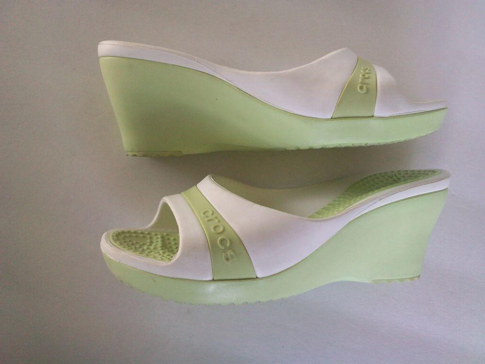 216689d105a6 crocs wedge heel slides slip on two tone lime green white sandal .