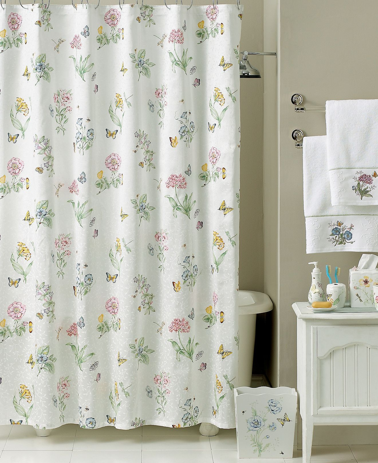 Lenox Butterfly Meadow Bath Collection Macy S Cortinas De