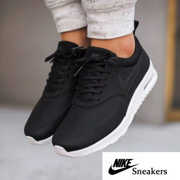 reputable site 4d720 dd648 Nike Air Max Thea Black Premium Leather Sneakers •The Nike Air Max Thea  Womens Shoe is equipped with premium lightweight cushioning and a sleek, ...