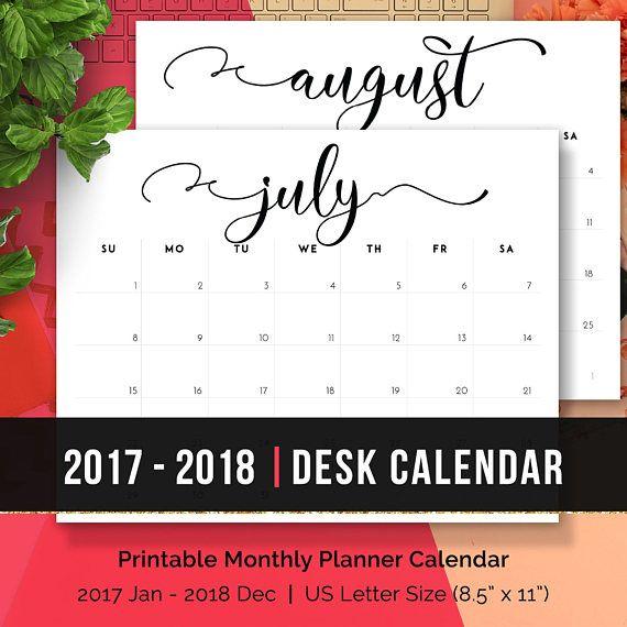 Desk Calendar 2019 Printable Calendar 2019 Monthly Planner 2019