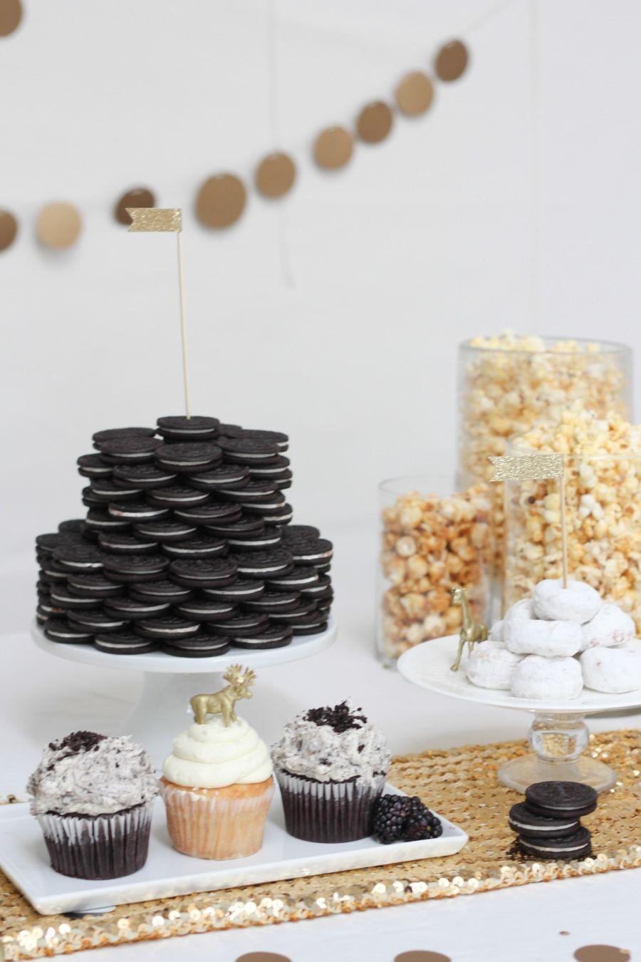 Black white birthday party black gold party 18th