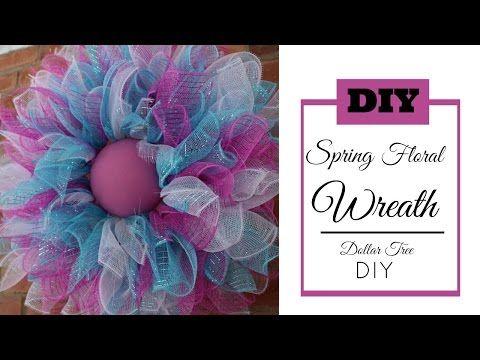 Deco Mesh Spring Wreath Tutorial Dollar Tree Diy Easter Wreath