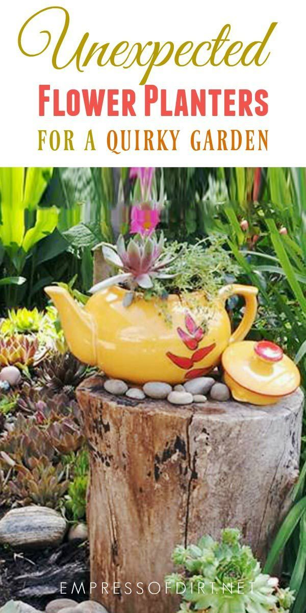 Unexpected flower planters for a quirky garden. #gardening #gardenideas #creativegardenideas #gardenplanters #containers #quirkygarden #repurposed #empressofdirt