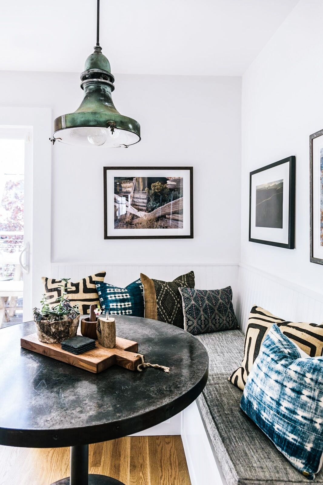 Kitchen table with bench seating and chairs   insta and pinterest amymckeown  for the home  Pinterest