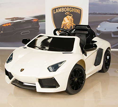 lamborghini aventador kids ride on battery powered wheels car with rc remote white