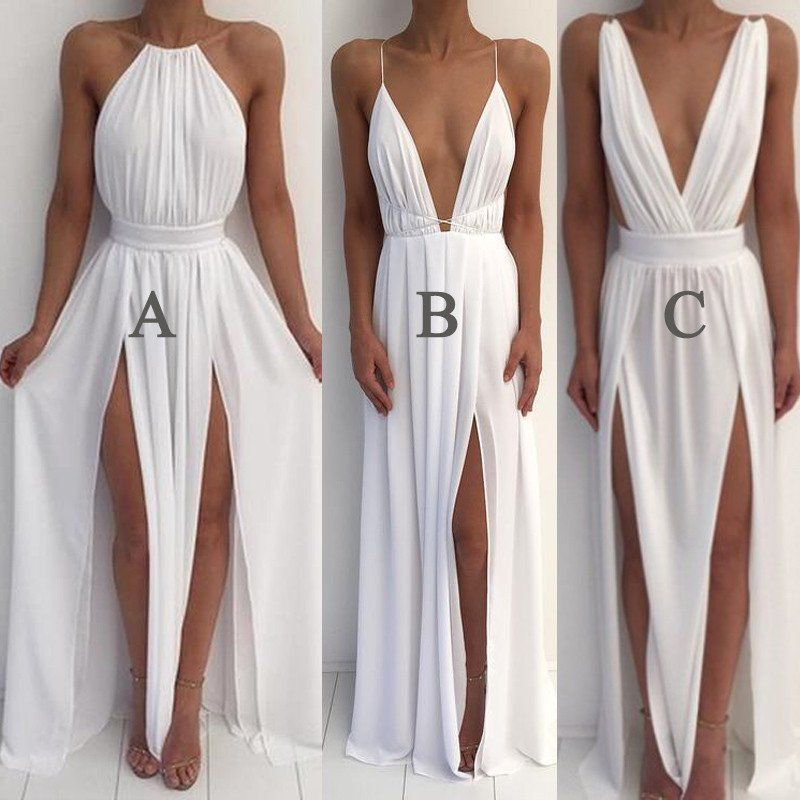 Cheap White Simple Sexy Split Beach Long Prom Dresses 286936a8eff6
