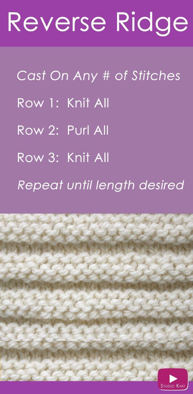 Reverse Ridge Knit Stitch Pattern With Video Tutorial Studio Knit