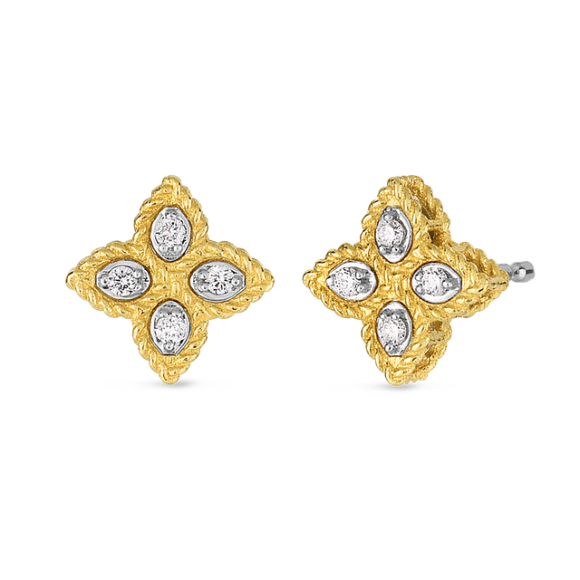 e29d38689 Roberto Coin Princess Flower Small Diamond Stud Earrings - in Yellow Gold  and White Gold - (0.07 CTW)