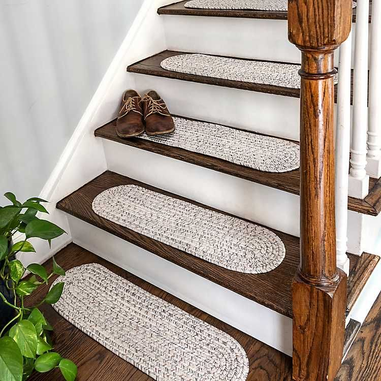 Best Leah Ivory Braided 13 Pc Oval Stair Tread Set In 2020 400 x 300