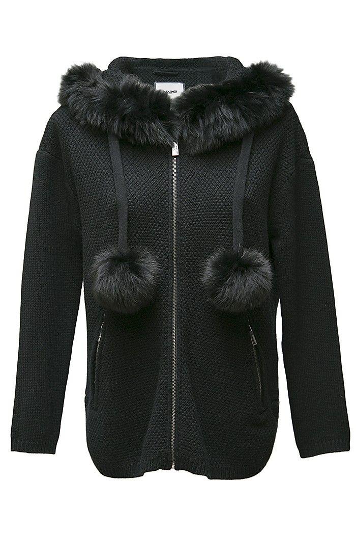 Black pom-pom hooded
