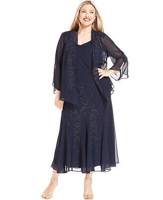 R&M Richards Plus Size Beaded V-Neck Dress and Jacket ...