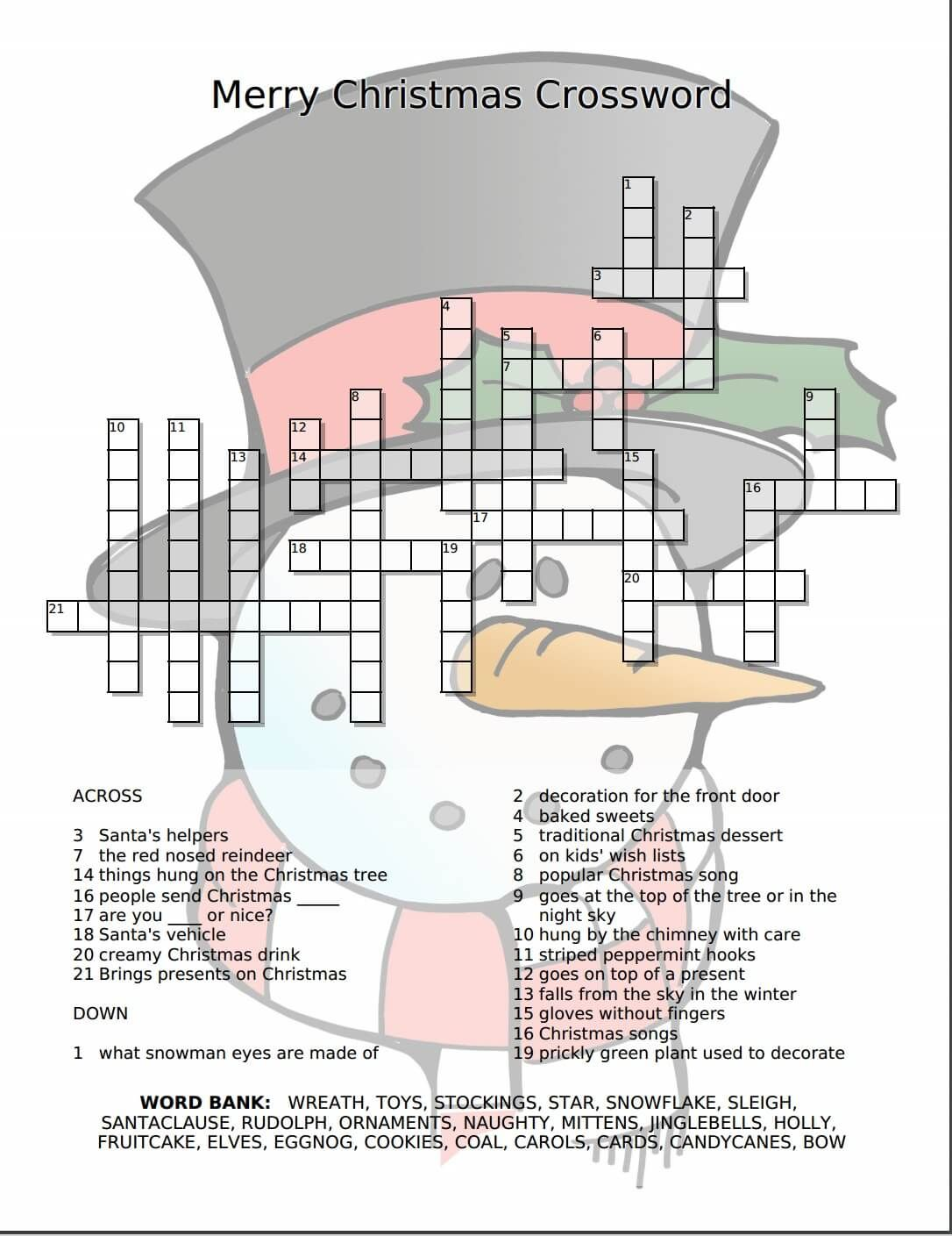Merry Christmas Crossword Free Printable