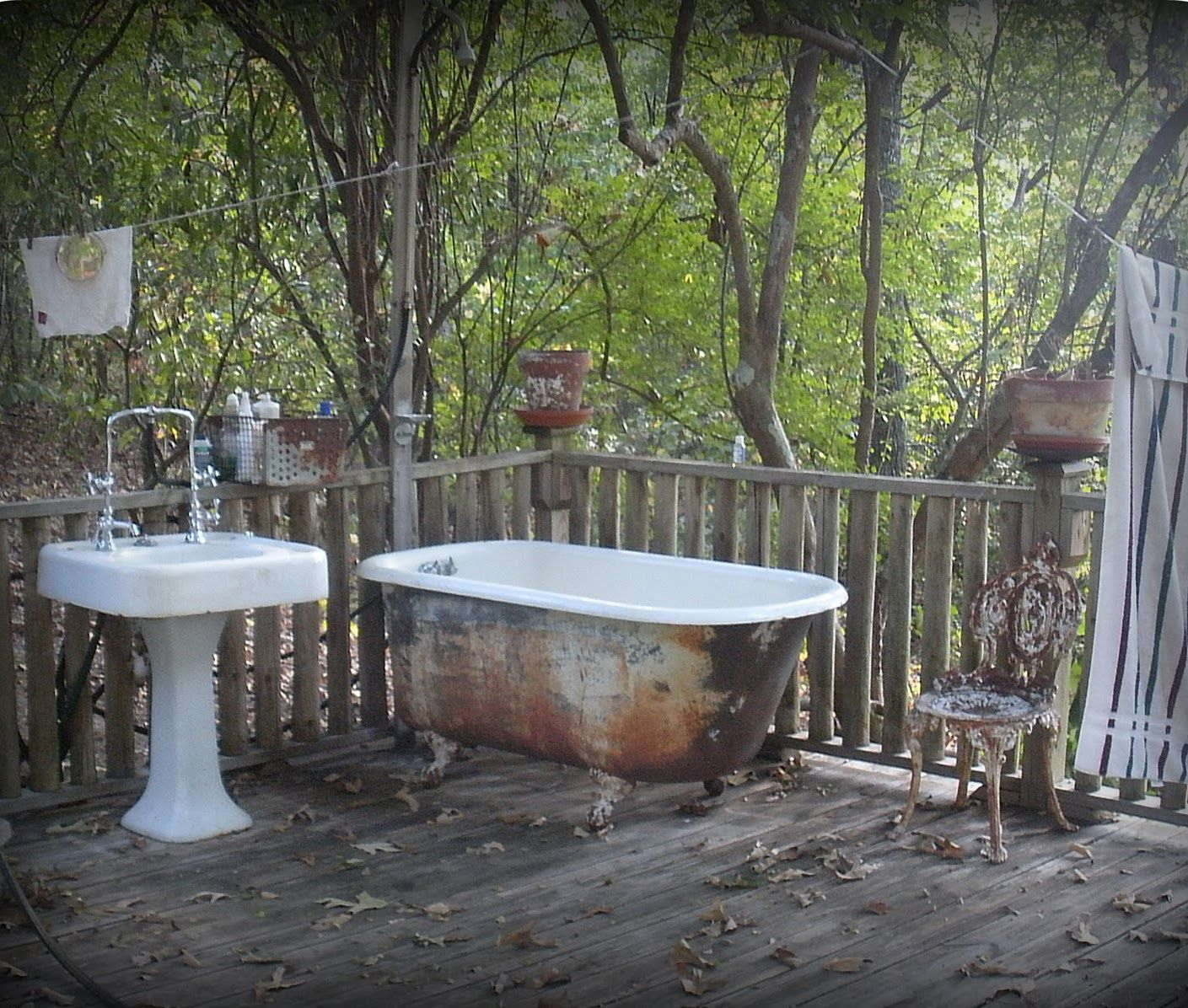 Outdoor Bathroom Sink Shower Clawfoot Tub Outdoor Bathtub