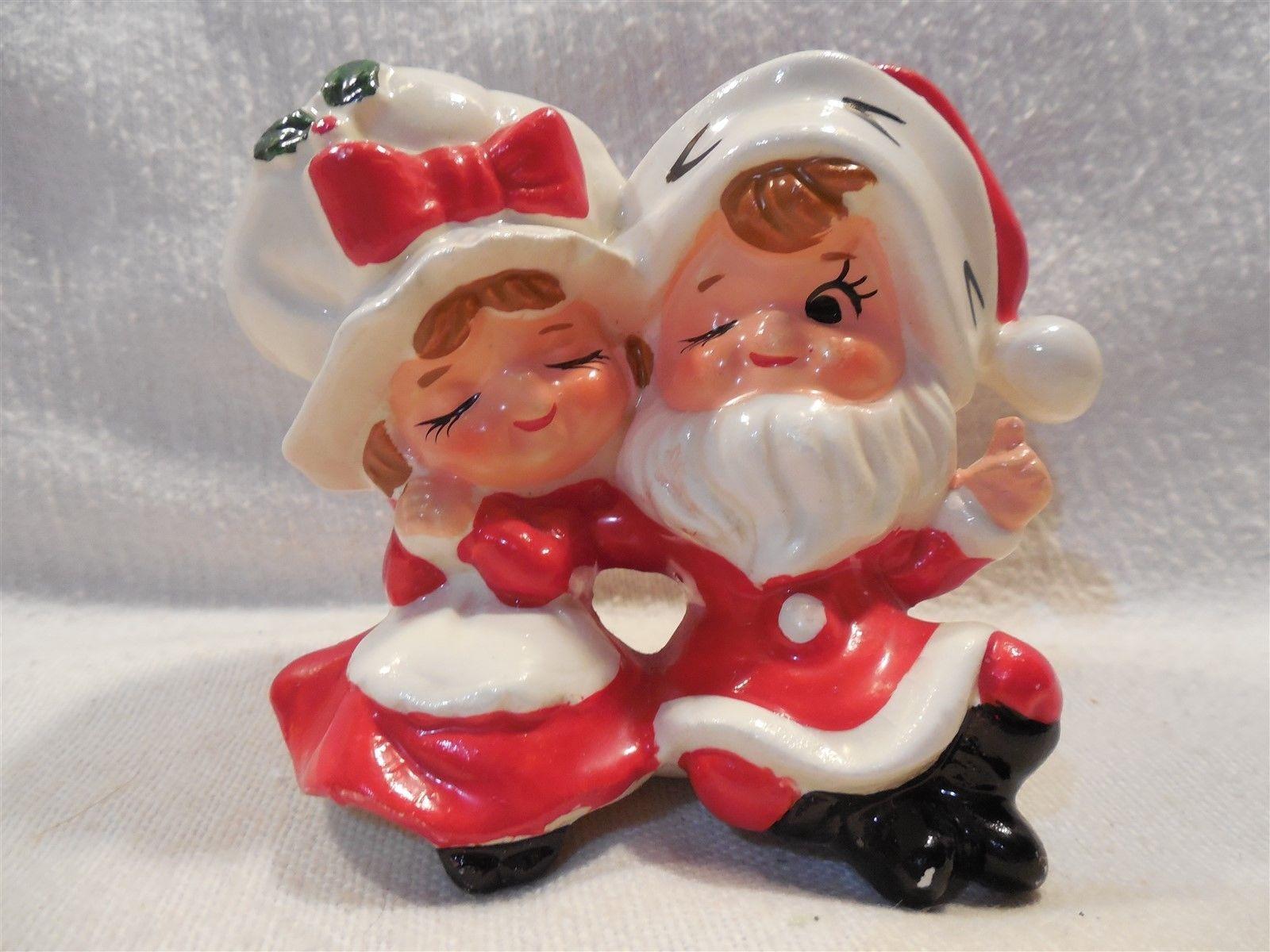 Vintage lefton japan ceramic christmas santa mrs claus boy girl