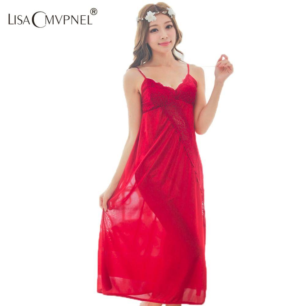 Lisacmvpnel 2016 새로운 여름 스타일의 고귀한 섹시한 여성의 laciness 레이스 왕실 스파게티 스트랩 비스코스 긴 디자인 잠옷