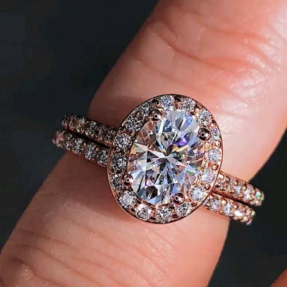 Oval Shape Diamond Rose Gold Plated 925 Sterling Silver