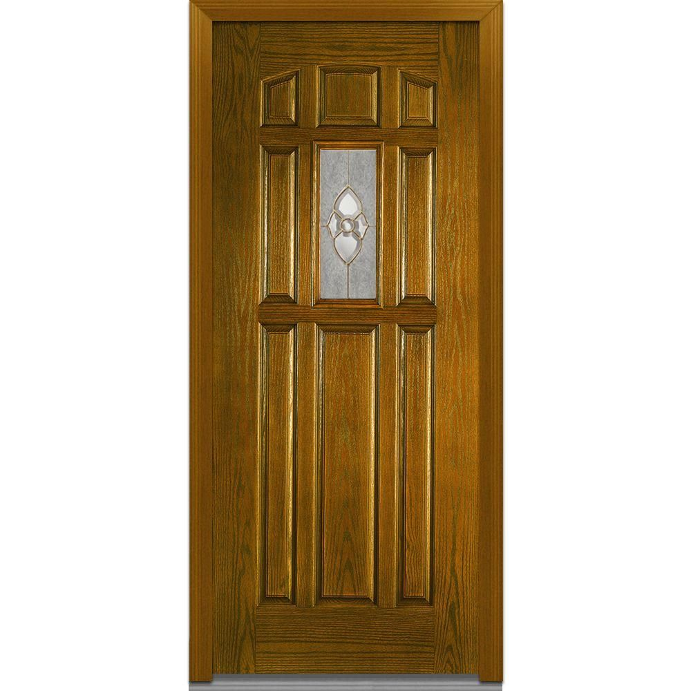 Milliken Millwork 37 5 In X 81 75 In Master Nouveau Decorative Glass 1 4 Lite 8 Panel Finished Fiberglass Oak Exterior Door Dark Walnut Classic Doors Oak Front Door Decorative Hinges