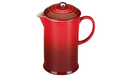 Le Creuset Stoneware French Press, 27-ounce Cherry Red | cutleryandmore.com I GOT THIS!