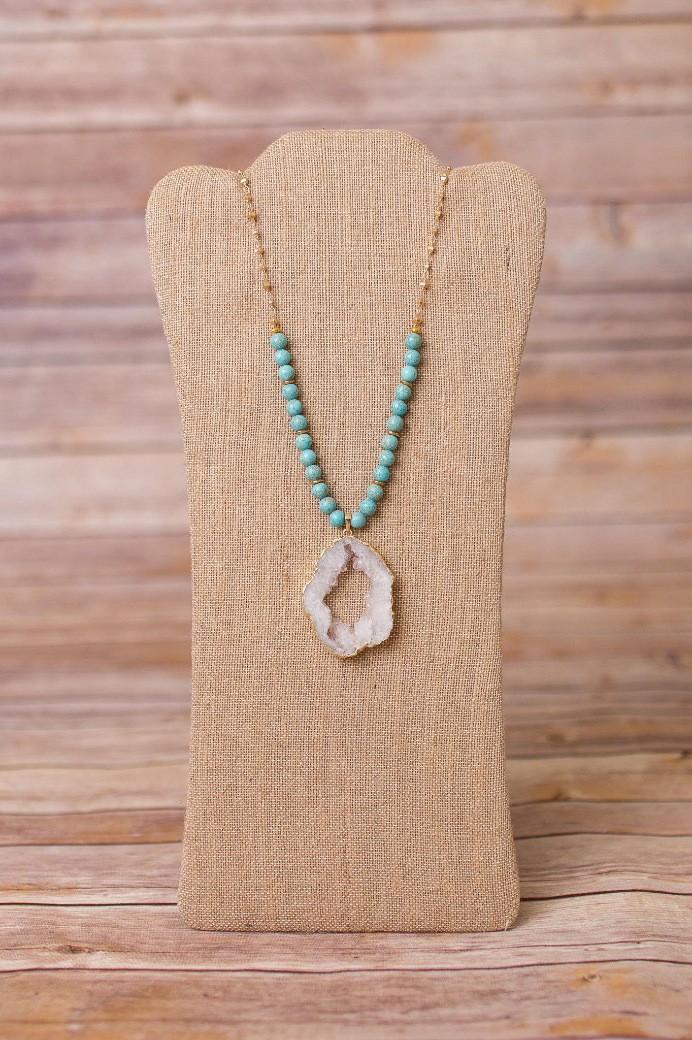 """36"""" Necklace with Large Druzy Pendant"""