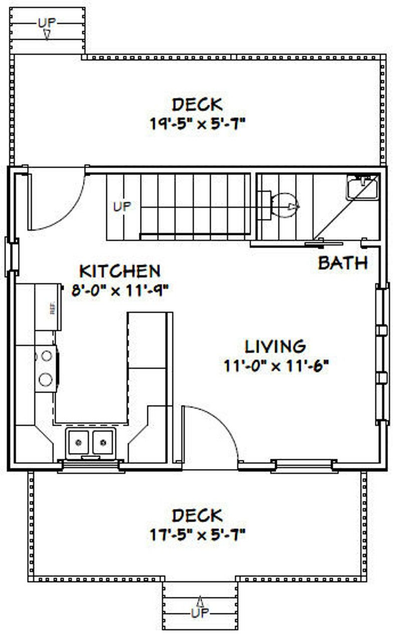 20x16 House 1 Bedroom 1 5 Bath 557 Sq Ft Pdf Floor Etsy In 2020 Roof Framing Stucco Siding Pitched Roof