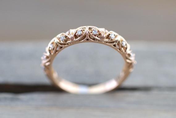 Milgrain de diamant en or Rose 14 carats gravure Vintage mariage fiançailles anniversaire bande Bague filigrane vigne #usquotes