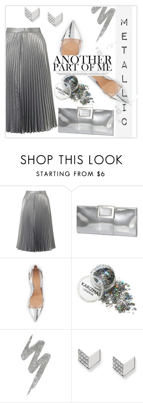 """""""Metallic!"""" by bgirl20 ❤ liked on Polyvore featuring Miss Selfridge, Roger Vivier, Gianvito Rossi, Urban Decay and FOSSIL"""