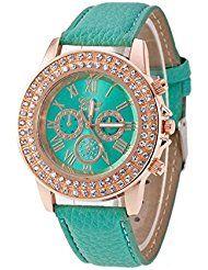 3a09ffe88 Mujeres Reloj - Geneva Reloj para mujeres, correa de cuero color verde menta