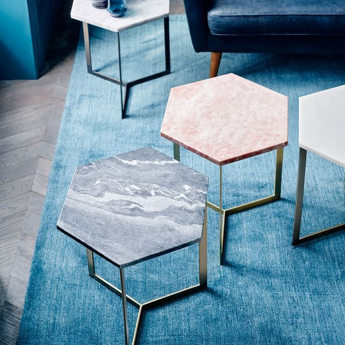 Marble And Gold Margaux Laptop Table: Hex Side Table, White Marble/Antique Brass