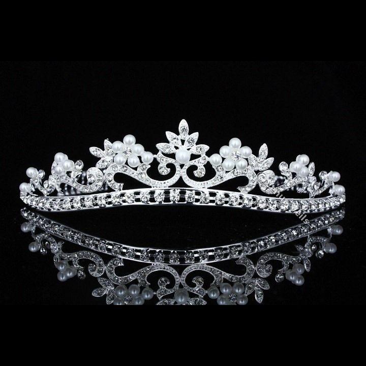 Bridal Prom Wedding Rhinestone Crystal Pearls Crown Tiara V726