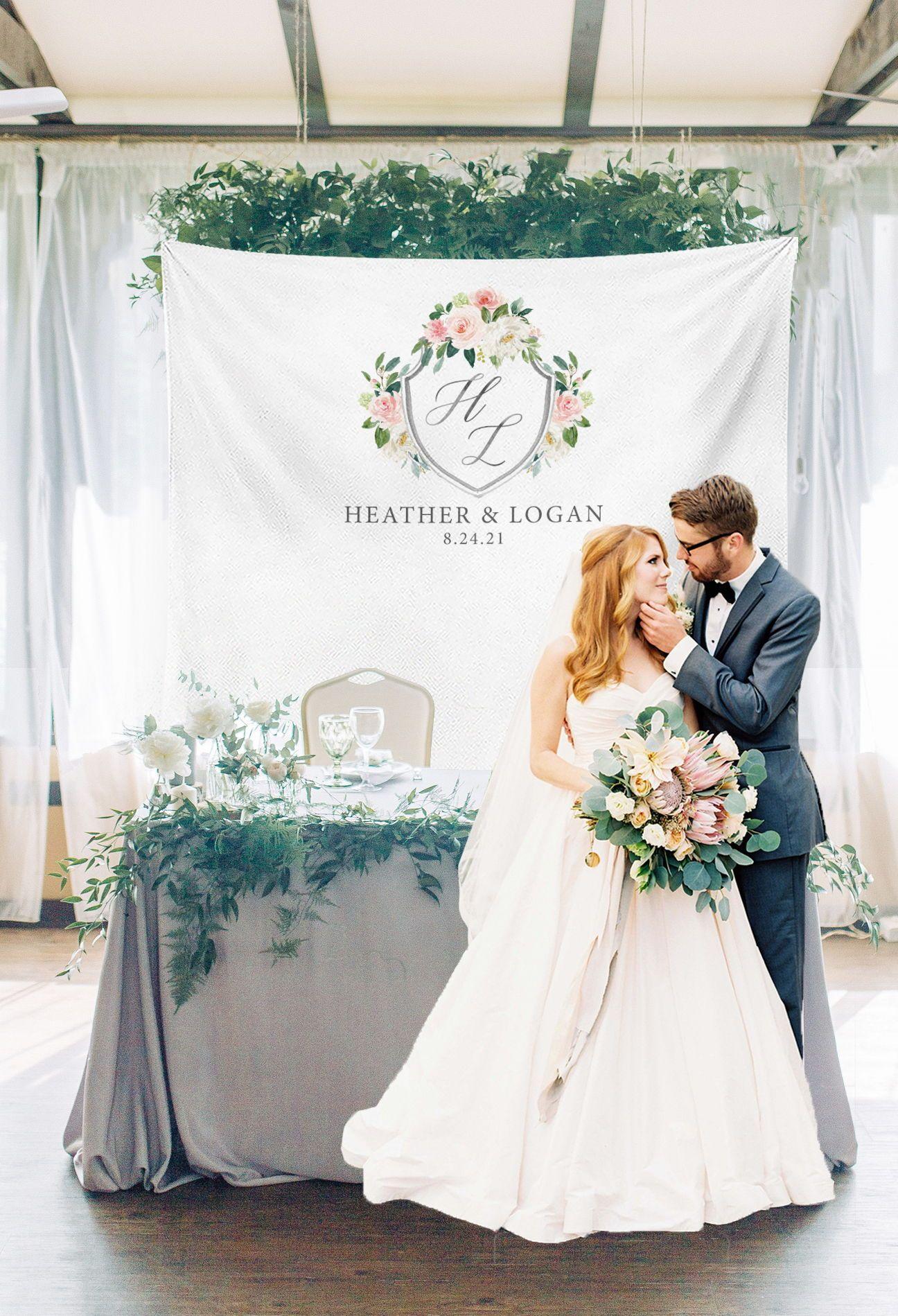 Romantic custom banner for sweetheart table. #backdropideas ...