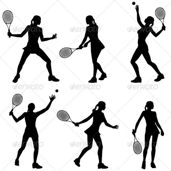 Woman Tennis Player Silhouette Tennis Players Tennis Silhouette
