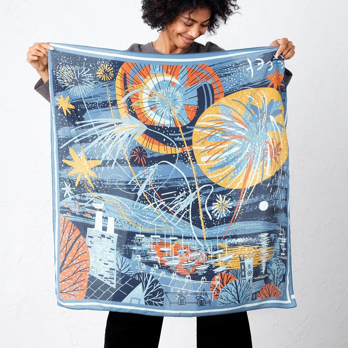 Screen printed scarf design of fireworks over Falmouth