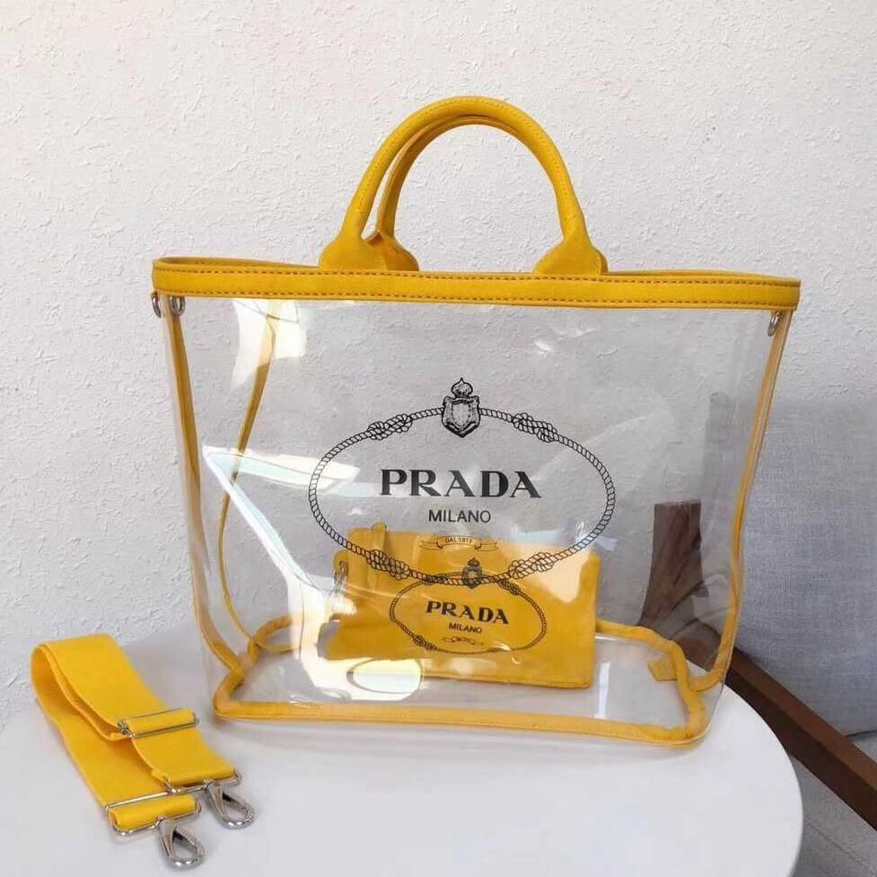 cf4fd7e0389c Prada Large Fabric and PVC Handbag Transparent/Yellow 1BD164 2018  #Pradahandbags